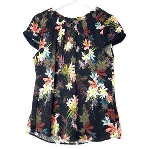 ILSE JACOBSEN Black Floral Printed Blouse Top 10